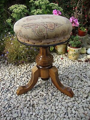 Vintage Walnut Adjustable Piano Stool,By Brooks & Co.