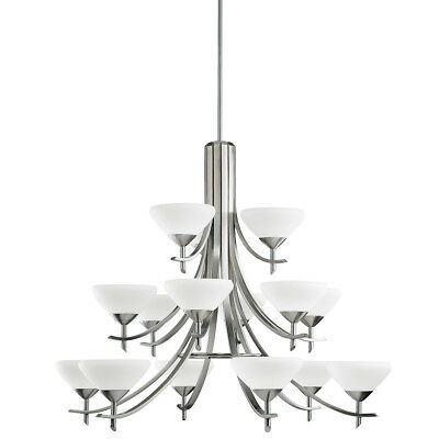 Kichler Lighting Olympia 15 Light Chandelier Antique Pewter Satin Etched Glass