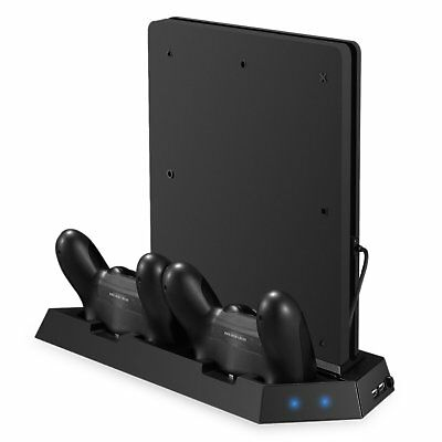 Jelly Comb PS4 Slim Vertical Stand Controller Charger with Cooling fan, 4 Slim -