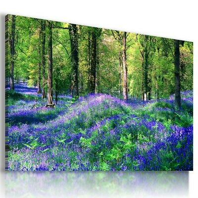 BLUE FLOWERS TREES SUMMER View Canvas Wall Art Picture Large L446 X MATAGA .