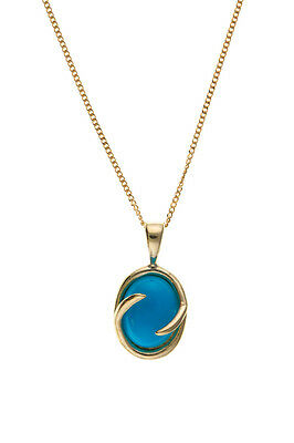 9ct Gold Synthetic Turquoise Pendant and Chain