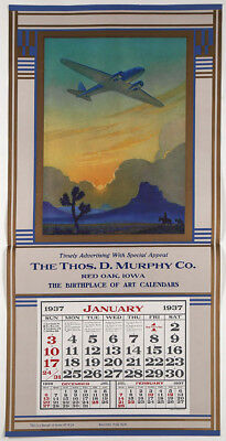 1937 Ruehl Heckman Racing the Sun Western Art Deco Aviation Age Calendar Fine+