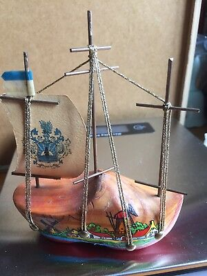 Holland Hand Painted Wooden Boat Sails-Windmills Souvenir