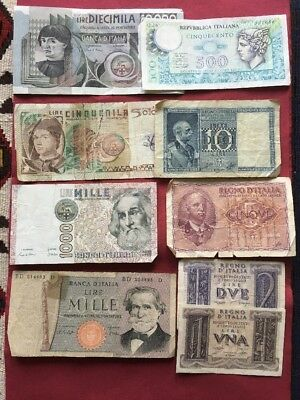 Various Circulated Italian Lire Notes