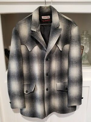 weather jack western wear gray plaid wool jacket size medium rockabilly large