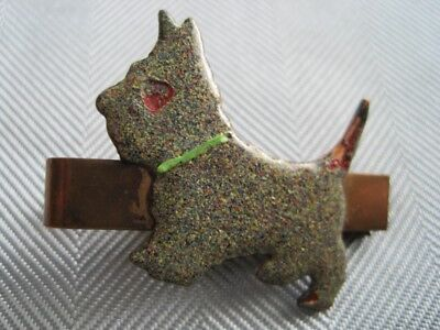SPECKLED SCOTTIE DOG Very Old Tie Clip Patent No. Copper Back  Beautiful