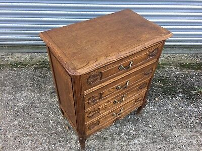 Carved French Louis XV Style Tall Wellington Bedside Chest of Four Drawers