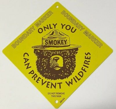 Metal Smokey Bear Boundary Marker sign Forest Service