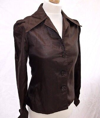 RARE ORIGINAL 70's VINTAGE BROWN FUNKY FASHION SHIRT BLOUSE UK10 MADE IN ENGLAND