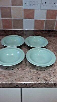 """Wood's Ware Green Beryl 4 x 6"""" rimmed bowls / dishes"""