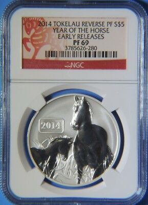 2014 Reverse PF Tokelau Year of the Horse Early Rel $5 1oz Silver Coin NGC PF69