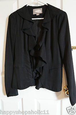 Women's FOREVER 21 Love 21 Black Ruffle Collar Blazer Jacket Size Small