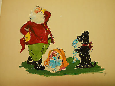 "6 Santa Claus Watercolor Signed ""DB"" Scotty Dog Christmas Illustrations"