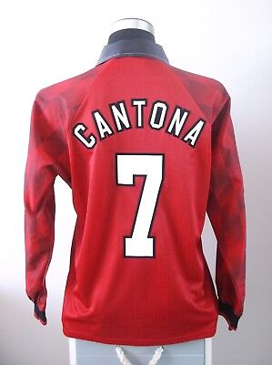 CANTONA #7 Manchester United Long Sleeve Home Football Shirt Jersey 1996/97 (M)