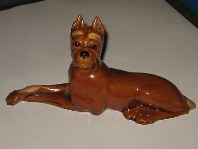 "Very nice! HAGGER CHINA ceramic figurine BOXER DOG brown 11"" x 6 1/2"""
