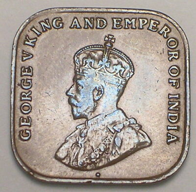 1919 Straights & Settlements One 1 Cent King George V Square Coin VF+