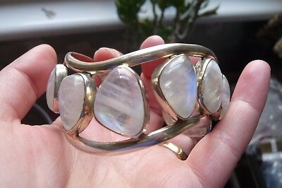Vintage Moonstone and Silver Bangle