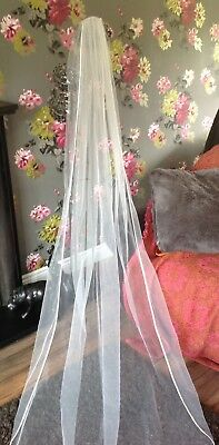 Vintage Wedding veil & comb bridal 7 foot long on comb