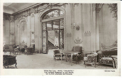 Rms Majestic White Star First Class Lounge Entrance Real Photo Hoffman