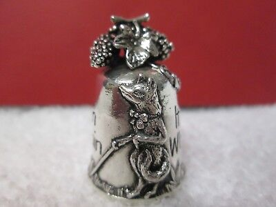 Silver Scenes Signed (Ss 1995 Silver Plated)Thimble, Fox & Grapevine With Verse.