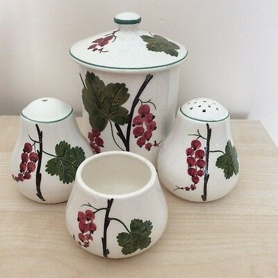 Plichta Wemyss three  piece cruet set & jam pot with lid Red Currant decoration.