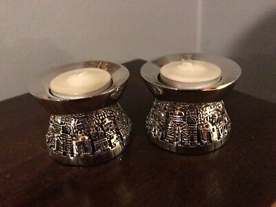 Original Karshi Jerusalem Silver Shabat Candle Holders, New in Box