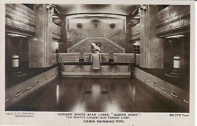 Queen Mary White Star Cabin Swimming Pool Real Photo Hoffman