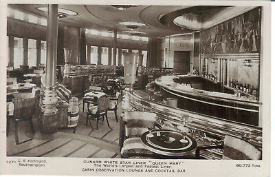 Queen Mary White Star Cabin Lounge And Cocktail Bar Real Photo Hoffman