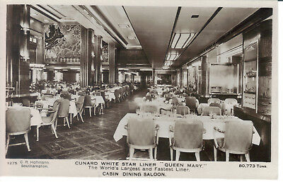 Queen Mary White Star Cabin Dining Saloon Real Photo Hoffman