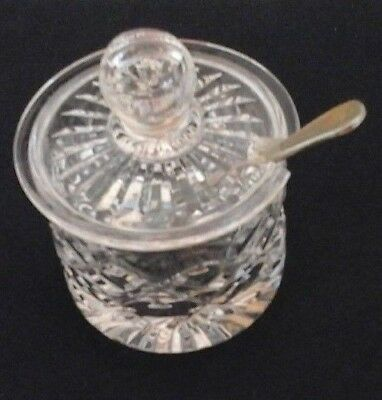 Old  tiny Crystal Glass Preserve Honey Mustard Serving Preserve Pot Jar & Spoon