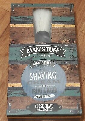 Technics Man'stuff Shaving Cream With Brush Gift Set Brand New Sealed