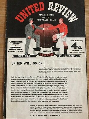 MAN UNITED v SHEFFIELD WED FA Cup 1957/1958 TOKEN INTACT FIRST GAME AFTER MUNICH