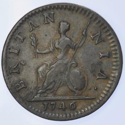 George II - 1746Farthing - about EF high grade
