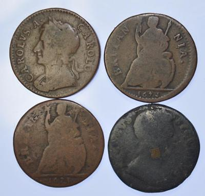 Charles II - 1672, 73 and 74 Farthings + James II Tin Farthing (4 coins)