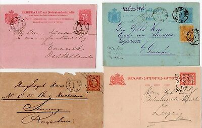 4 Different Netherlands Indies Postal Stationery Covers 3 Cards & 1 Envelope