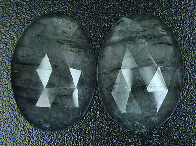 C-0447 Natural Black Rutile Gemstone Oval Faceted Slice 2Pcs Pair 34Cts 18x26mm