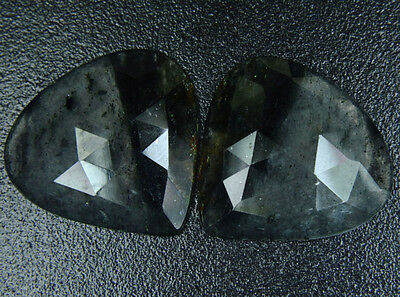 C-0450 Natural Black Rutile Gemstone Heart Faceted Slice 2Pcs Pair 42Cts 26x26mm