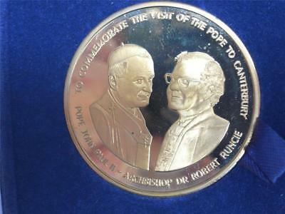 Solid Bronze Coin Pope John Paul II Visit Dr Robert Runcie Canterbury Cathedral