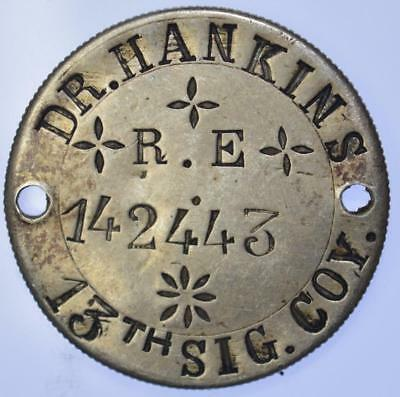 WWI - silver dog tag in Indian Rupee Reverse - Dr Hankins 13th sig. Coy