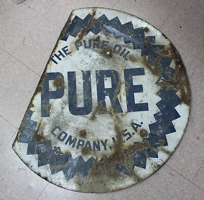 """The Pure Oil Company U.S.A. PURE Advertiseing Sign Porcelain Two Sided 42"""""""