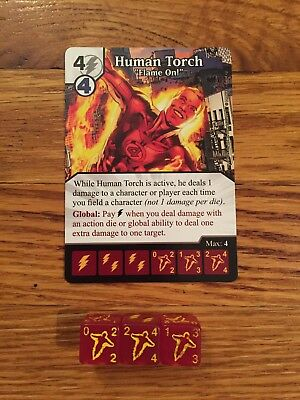 Marvel Dice Masters Human Torch Card and 3 Dice