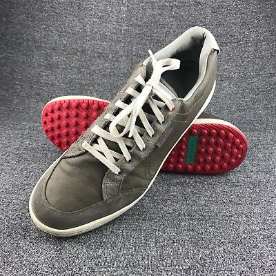 Mens Ashworth Gray Leather Spikeless Golf Shoes Size 13