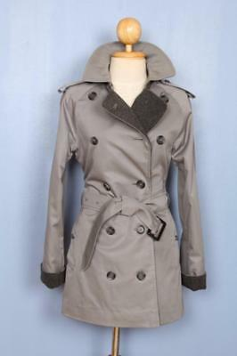 BEAUTIFUL Womens BURBERRY Double Breasted TRENCH Coat Mac SHORT Grey 6/8 S/XS