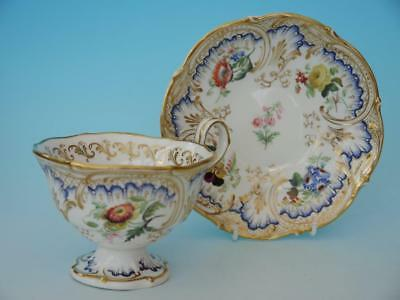 Early Coalport / Ridgeway Cup & Saucer Hand Painted Flowers, Gold Gilding