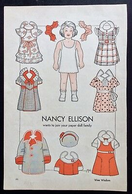 1935, Nancy Ellison, Mag. Paper Dolls, Wee Wisdom