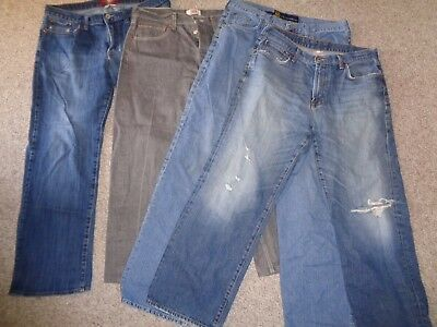Lot Of Mens Jeans Lucky Brand Levis 501 Buttonfly Nautica Destroyed Size 34 36
