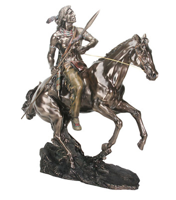 Native American Indian On Horse Sculpture Statue Figurine - HOME DECOR