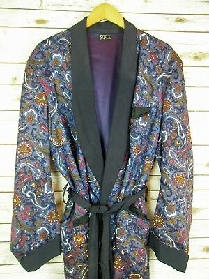 60's Blue Paisley Long Smoking Jacket Robe Mens Size XL State 'O Maine