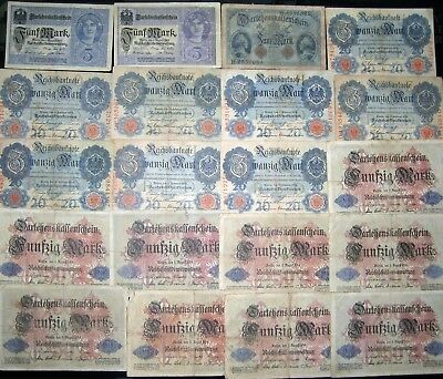 1914 1917 Germany WWI World War 1 Collection Vintage Antique Banknotes Old Money