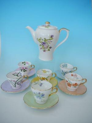 Shelley Hand Painted Floral Coffee Set - Coffee Pot, 6 Cups & Saucers